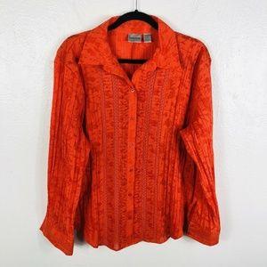 Chico's Size XL 16 3 Orange Burnout Button Shirt